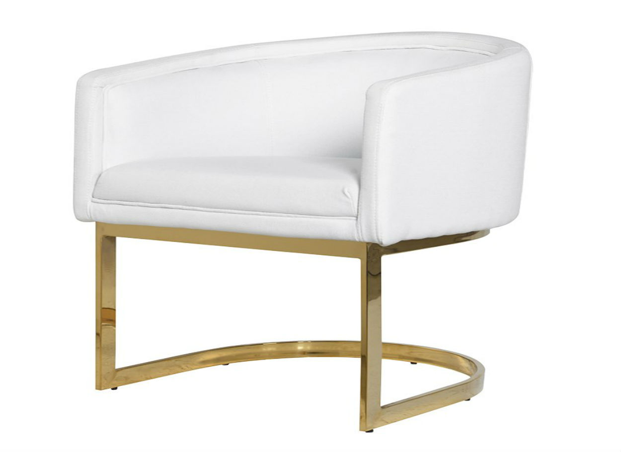 STCGA980 White Dining Chair Gold Frame